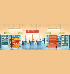 supermarket background grocery store products vector image