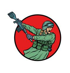 Symbol kick gun butt soldiers at war vector