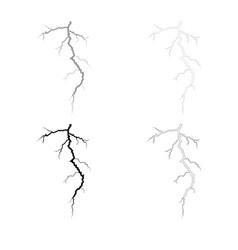 thunderstorm crack icon outline set grey black vector image