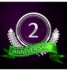 Two years anniversary celebration with silver ring vector