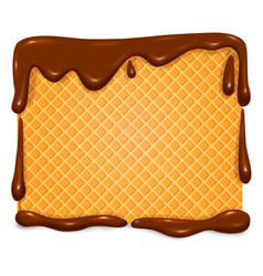 Waffle in chocolate banner vector