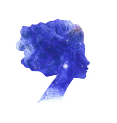 Watercolor woman silhouette vector