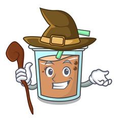 witch bubble tea mascot cartoon vector image