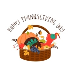 Wooden basket with turkey and vegetables vector