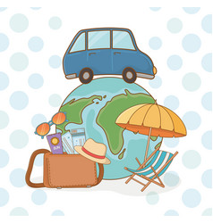 world planet with car and travel vacations items vector image