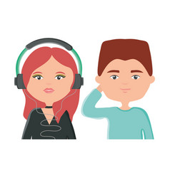 young couple listening music with earphones vector image