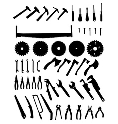 Big tools silhouette set vector image