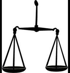 Black silhouette of scales of justice vector image