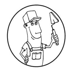 Cartoon worker with tool circle logo vector