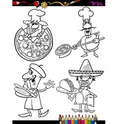 Cook chefs set cartoon coloring book vector
