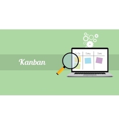 kanban workflow project management with laptop and vector image vector image