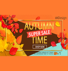 modern stylish golden autumn super sale banner vector image vector image