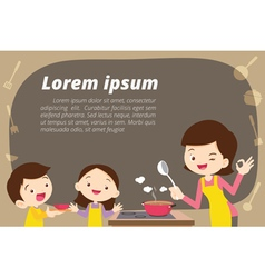 mother daughter and son cooking vector image