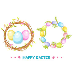 circle frame with easter eggs and tree vector image vector image