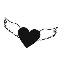 Heart with wings simple icon vector image