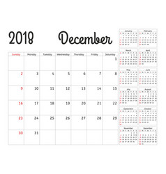 simple calendar planner for 2018 year vector image