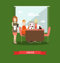 waitress taking order in flat vector image vector image