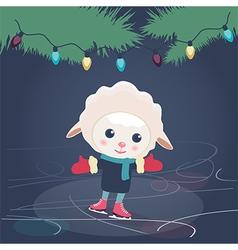 Cartoon sheep ice skating vector image vector image