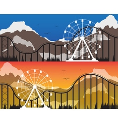 A set of banners for the amusement park vector image