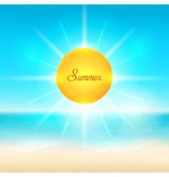 Beach and tropical sea with bright sun vector
