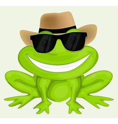 Cartoon frog in sunglasses vector image vector image