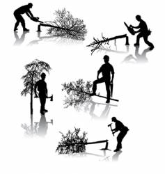 forestry workers vector image vector image