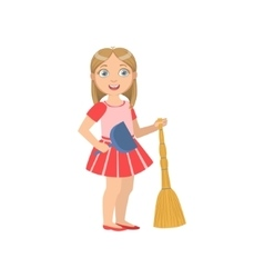 Girl holding the broom and duster vector