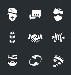 set of fight against terrorism icons vector image vector image