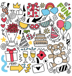 068-hand drawn party doodle vector