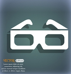 3d glasses icon On the blue-green abstract vector image