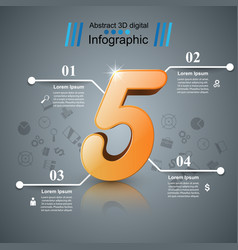 Abstract 3d digital infographic five vector