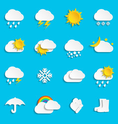 abstract paper weather icons vector image