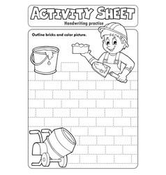 Activity sheet handwriting practise 5 vector