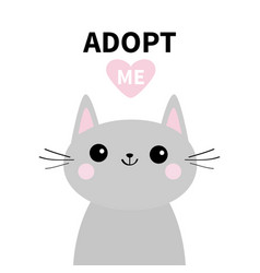 Adopt me dont buy gray cat silhouette pink heart vector