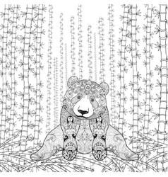 Bamboo panda coloring page vector image