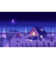beautiful moonlight over cartoon house vector image