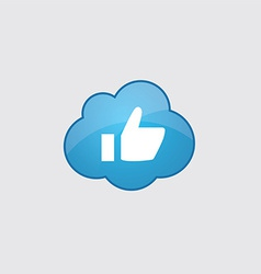 Blue cloud ok icon vector
