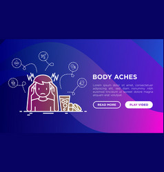 body ache concept man with headache and pills vector image
