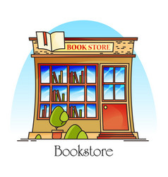 Bookstore or book shop store for literature vector