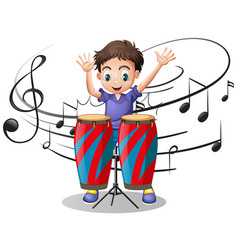 boy playing drum with music notes in background vector image vector image