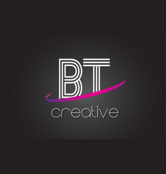 Bt b t letter logo with lines design and purple vector