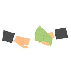 businessmen give money vector image