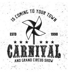 carnival black emblem with paper windmill toy vector image