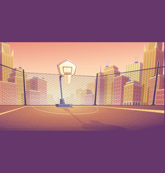 Cartoon background of street basketball vector