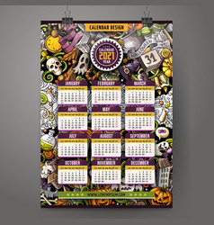 Cartoon doodles halloween 2021 year calendar vector