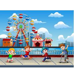 cartoon of children having fun on the lakeside wit vector image