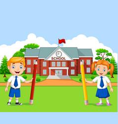 cartoon school kids in school yard vector image