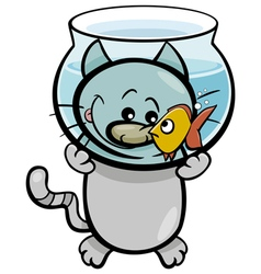 Cat and fish cartoon vector
