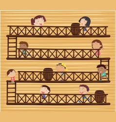 Children on different levels vector