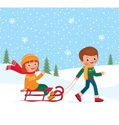 Children winter sledding vector image vector image